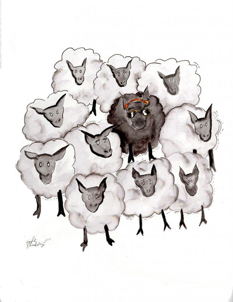 Always be the black sheep Journal Watercolors  watercolor artist original art motivational make your own path black sheep
