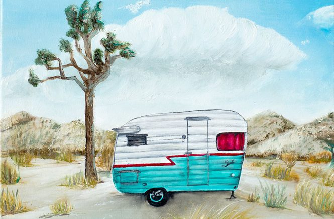 I have the traveling bug and I just can't get rid of it Journal Oil Paintings  Travel trailer shasta travel trailer Joshua Tree National Park